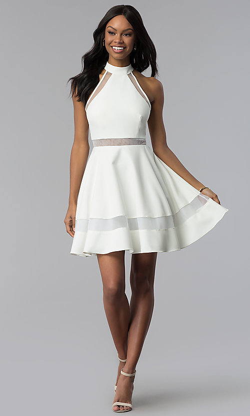Image of high-neck short white cut-out graduation dress. Style: DMO-J320837 Detail Image 3
