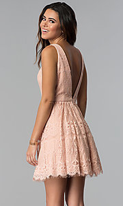 Image of short lace graduation party dress in blush pink. Style: DMO-J320477 Back Image