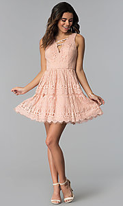 Image of short lace graduation party dress in blush pink. Style: DMO-J320477 Detail Image 3