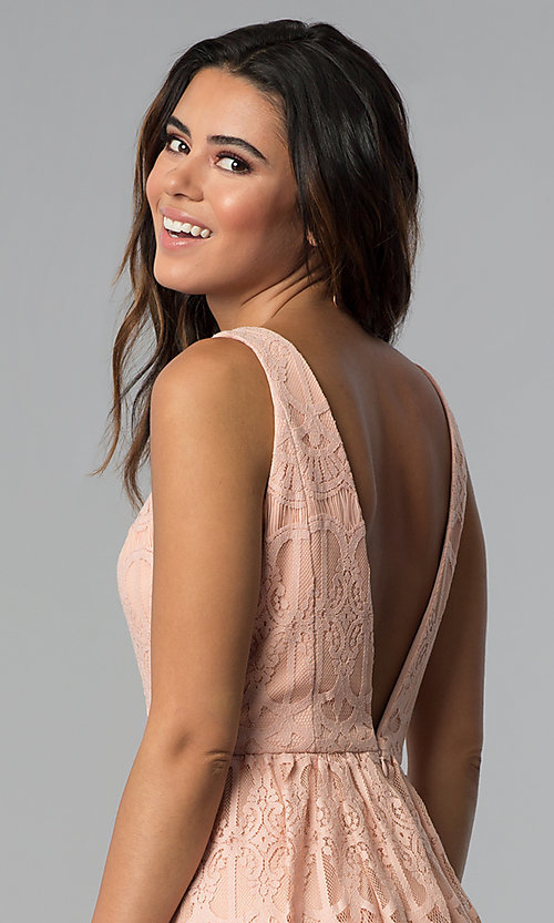 Image of short lace graduation party dress in blush pink. Style: DMO-J320477 Detail Image 2