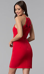 Image of short red wedding-guest dress with cut outs. Style: DMO-J320997 Front Image