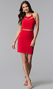 Image of short red wedding-guest dress with cut outs. Style: DMO-J320997 Detail Image 3