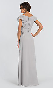 Image of Dorian Long wrap-style bridesmaid dress. Style: JAUG-C-Dorian-Long Back Image