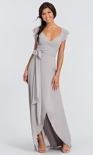Dorian Long Wrap-Style Bridesmaid Dress