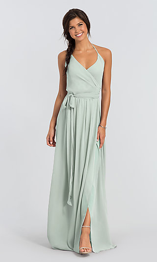 DC Long Halter Chiffon Wrap Bridesmaid Dress