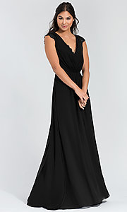 Image of Hailey Paige lace-back long bridesmaid dress. Style: HYP-5600 Detail Image 5