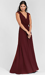 Image of Hailey Paige lace-back long bridesmaid dress. Style: HYP-5600 Detail Image 3