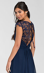 Image of Hailey Paige lace-back long bridesmaid dress. Style: HYP-5600 Detail Image 2