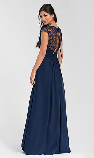 Hailey Paige Lace-Back Long Bridesmaid Dress