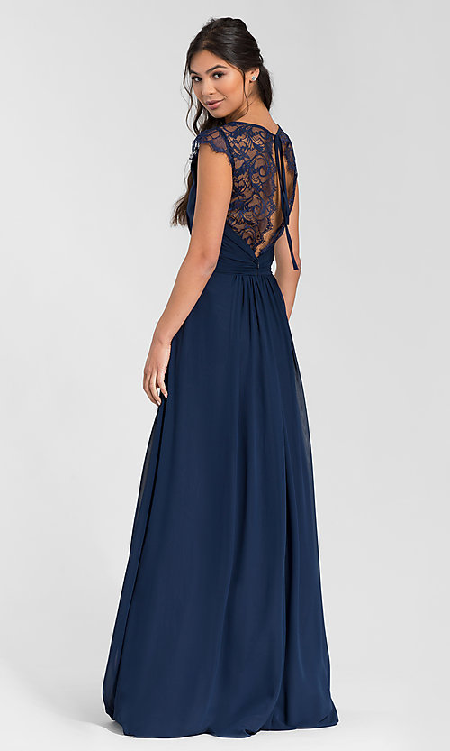 Image of Hailey Paige lace-back long bridesmaid dress. Style: HYP-5600 Front Image