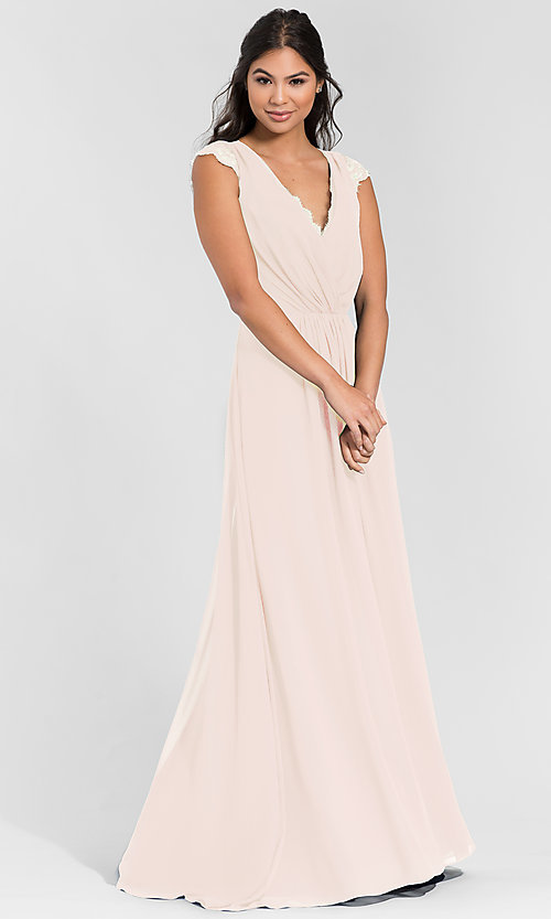 Image of Hailey Paige lace-back long bridesmaid dress. Style: HYP-5600 Detail Image 7