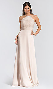 Image of Hailey Paige lace-bodice long bridesmaid dress. Style: HYP-5715 Detail Image 5