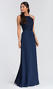 Image of Hailey Paige lace-bodice long bridesmaid dress. Style: HYP-5715 Detail Image 1