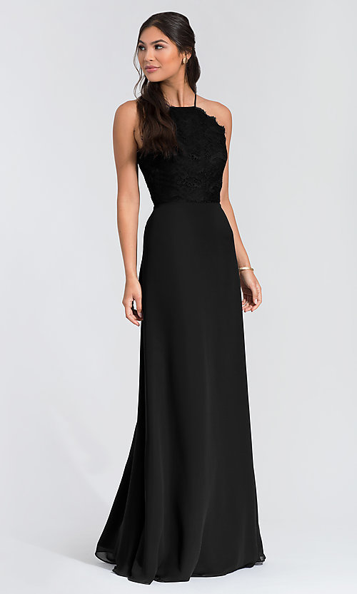 Image of Hailey Paige lace-bodice long bridesmaid dress. Style: HYP-5715 Detail Image 6