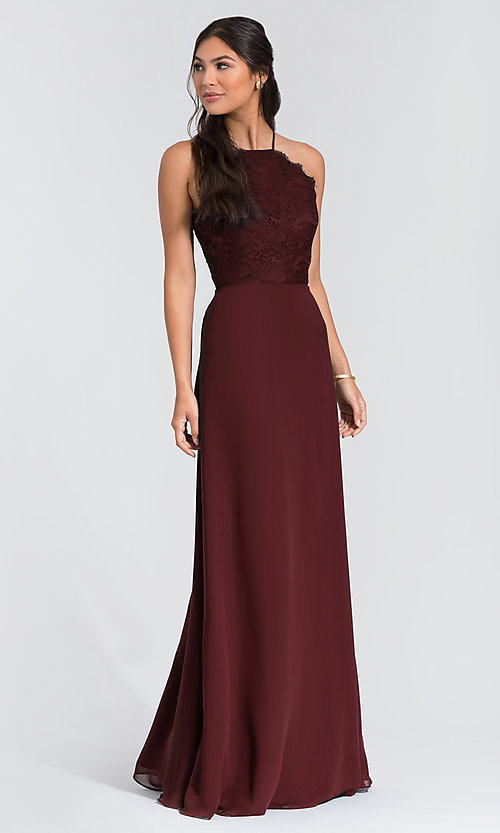 Image of Hailey Paige lace-bodice long bridesmaid dress. Style: HYP-5715 Front Image