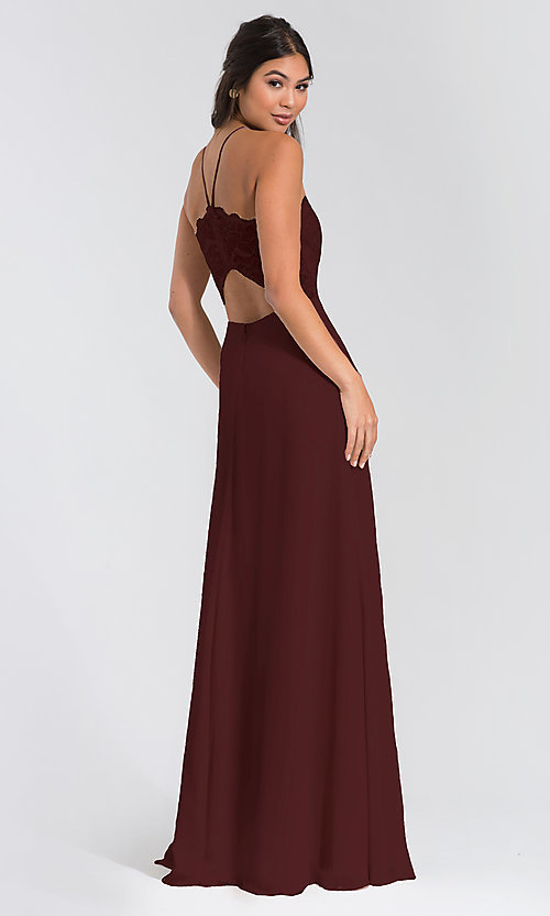 Image of Hailey Paige lace-bodice long bridesmaid dress. Style: HYP-5715 Back Image