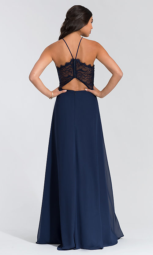 Image of Hailey Paige lace-bodice long bridesmaid dress. Style: HYP-5715 Detail Image 3