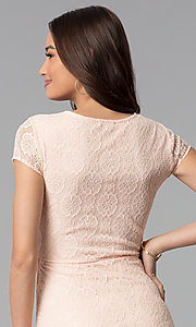 Image of blush pink lace scoop-neck short-sleeve party dress. Style: MY-5004AM1D Detail Image 2