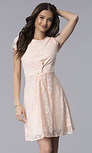Image of blush pink lace scoop-neck short-sleeve party dress. Style: MY-5004AM1D Front Image