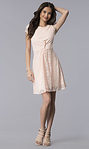 Image of blush pink lace scoop-neck short-sleeve party dress. Style: MY-5004AM1D Detail Image 3
