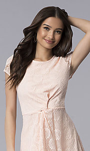 Image of blush pink lace scoop-neck short-sleeve party dress. Style: MY-5004AM1D Detail Image 1