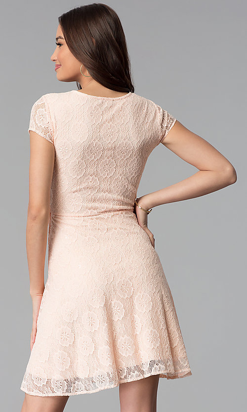 Image of blush pink lace scoop-neck short-sleeve party dress. Style: MY-5004AM1D Back Image