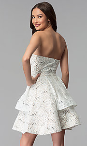 Image of a-line strapless graduation dress by Sequin Hearts. Style: MY-5037DV1P Back Image