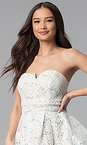 Image of a-line strapless graduation dress by Sequin Hearts. Style: MY-5037DV1P Detail Image 1