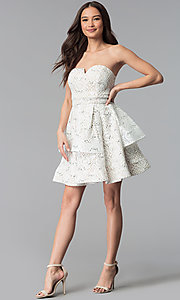 Image of a-line strapless graduation dress by Sequin Hearts. Style: MY-5037DV1P Detail Image 3