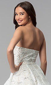 Image of a-line strapless graduation dress by Sequin Hearts. Style: MY-5037DV1P Detail Image 2