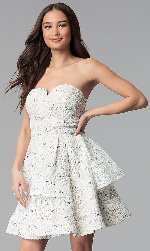 Image of a-line strapless graduation dress by Sequin Hearts. Style: MY-5037DV1P Front Image