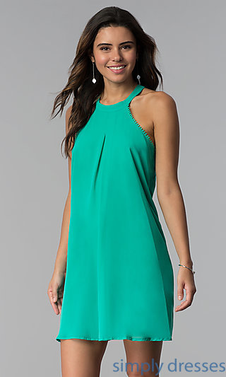Short High-Neck Shift Cheap Mint Wedding-Guest Dress