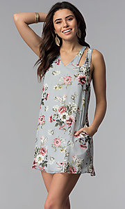 Image of racerback casual short floral-print shift dress. Style: SS-JA92462CC95 Front Image