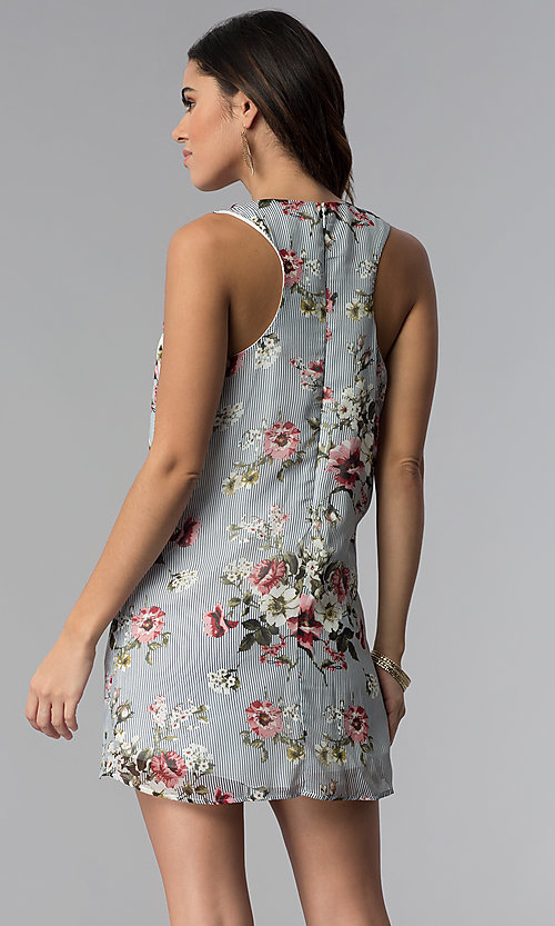 Image of racerback casual short floral-print shift dress. Style: SS-JA92462CC95 Back Image