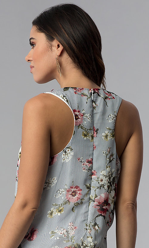 Image of racerback casual short floral-print shift dress. Style: SS-JA92462CC95 Detail Image 2