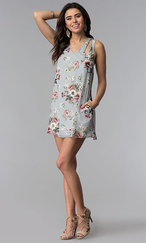 Image of racerback casual short floral-print shift dress. Style: SS-JA92462CC95 Detail Image 3