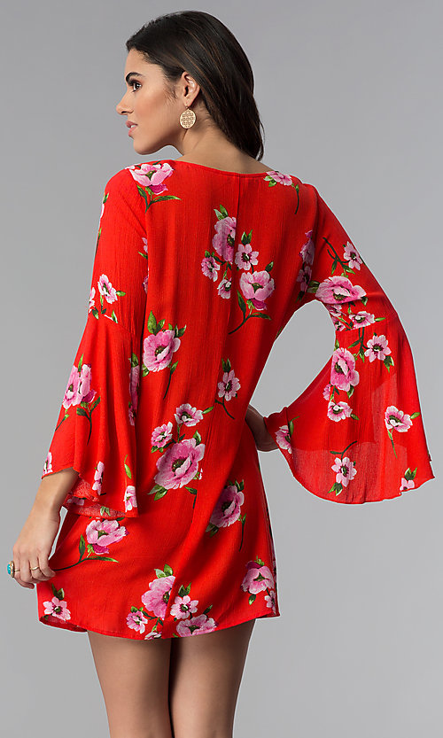 Image of long-sleeve floral-print short red shift party dress. Style  fdd7687a1