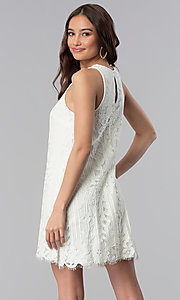 Image of ivory white lace short shift graduation party dress. Style: SS-JA28492H543 Back Image
