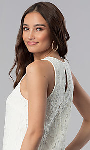 Image of ivory white lace short shift graduation party dress. Style: SS-JA28492H543 Detail Image 2