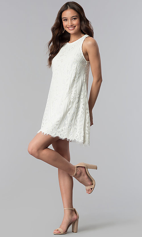 Image of ivory white lace short shift graduation party dress. Style: SS-JA28492H543 Detail Image 3