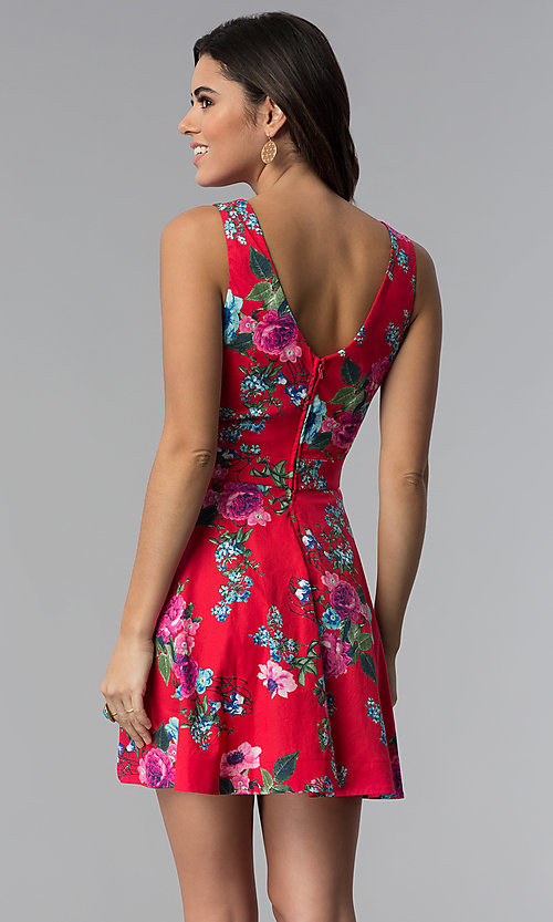 Image of sleeveless short floral-print red party dress. Style: SS-D70661SB2 Back Image