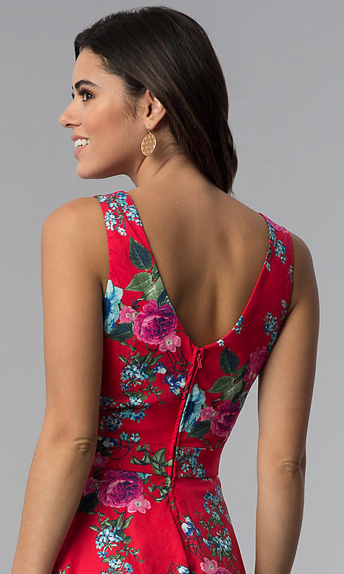 Image of sleeveless short floral-print red party dress. Style: SS-D70661SB2 Detail Image 2