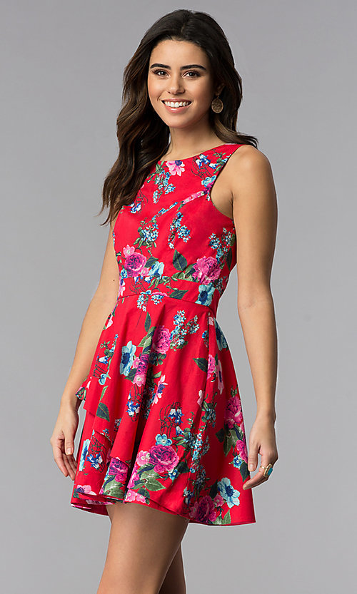 Image of sleeveless short floral-print red party dress. Style: SS-D70661SB2 Front Image
