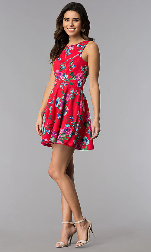 Image of sleeveless short floral-print red party dress. Style: SS-D70661SB2 Detail Image 3