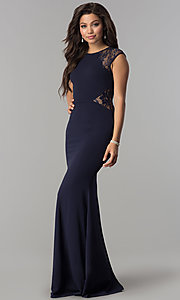 Image of formal long evening dress with lace cap sleeves. Style: LP-PL-24550 Detail Image 1