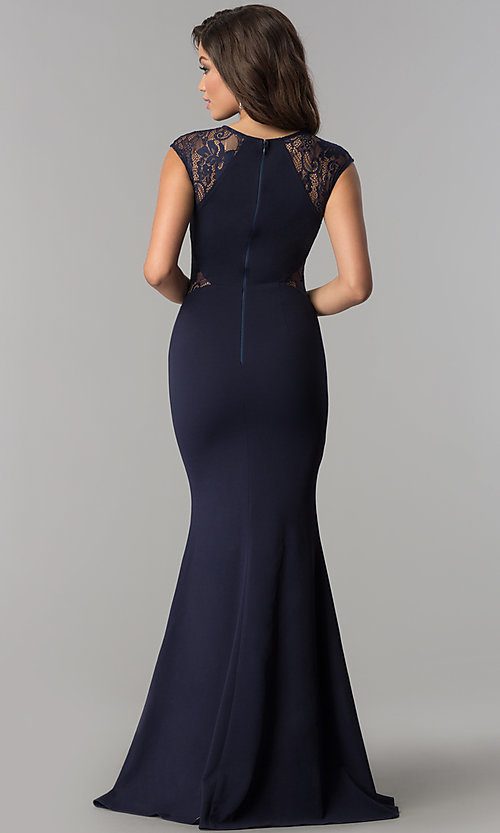 Image of formal long evening dress with lace cap sleeves. Style: LP-PL-24550 Back Image