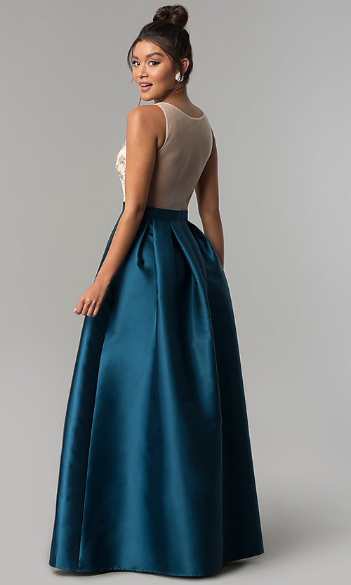 Image of long teal blue satin prom dress with beaded bodice. Style: SOI-PL-M17178 Back Image