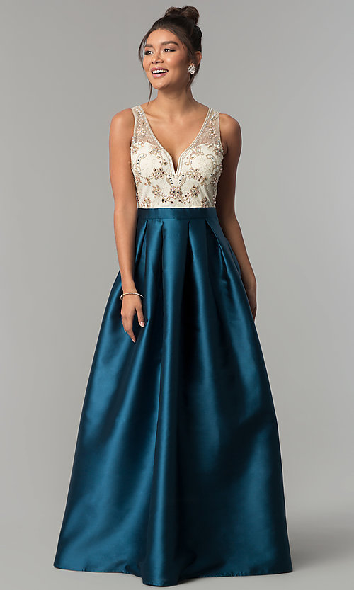 Image of long teal blue satin prom dress with beaded bodice. Style: SOI-PL-M17178 Front Image
