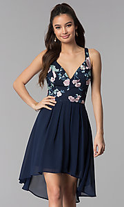 Image of navy embroidered-bodice high-low chiffon party dress.  Style: MY-9961HC1C Front Image