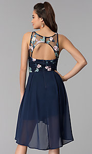 Image of navy embroidered-bodice high-low chiffon party dress.  Style: MY-9961HC1C Back Image